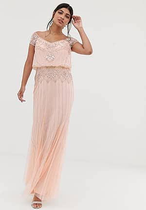 baroque embellished cap sleeve maxi dress in soft peach
