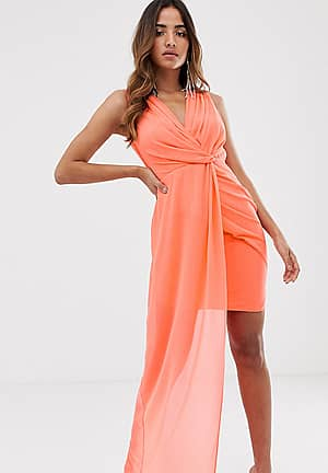 wrap front dress with asymmetric hem in coral