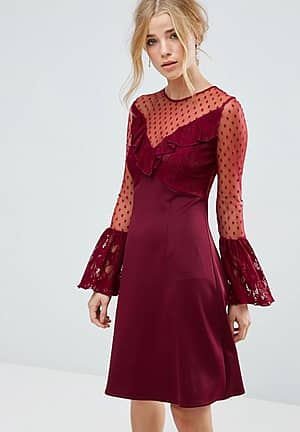 A Line Mini Dress With Lace Frill & Fluted Long Sleeve