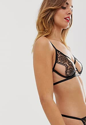 Eliana cutout crochet bra in black