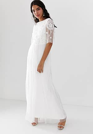 embellished maxi dress with sheer sleeve in off white
