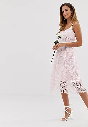 bridal premium lace midi dress