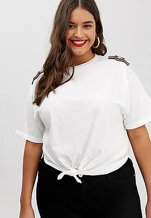 tee with embellished shoulders in white
