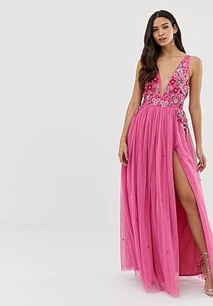3D applique embellished plunge front maxi dress with thigh split in pink