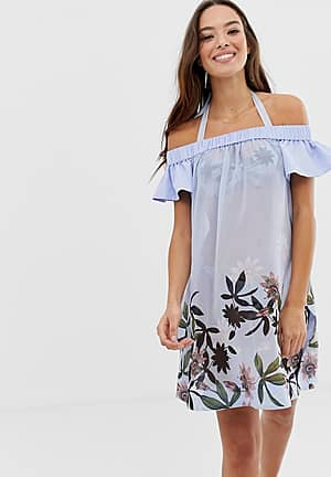 Belriaa floral bardot cover up