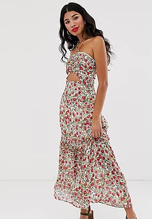 halterneck maxi dress in allover floral