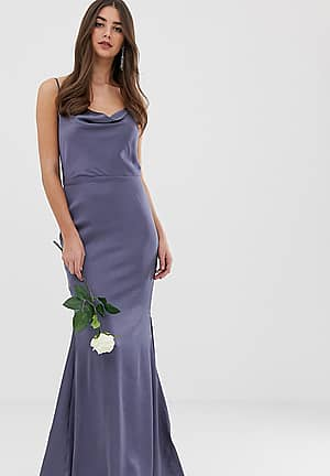 satin cowl neck maxi dress with train in blue