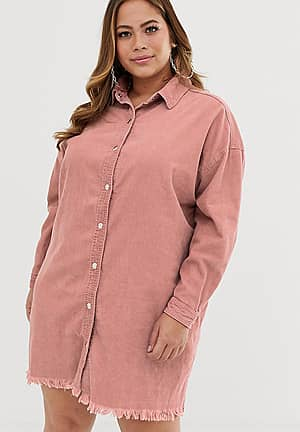 cord shirt dress in pink