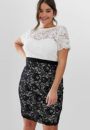 contrast two in one stretch lace bodycon midi dress in mono