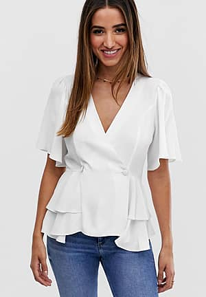 tux top with angel sleeve and button detail