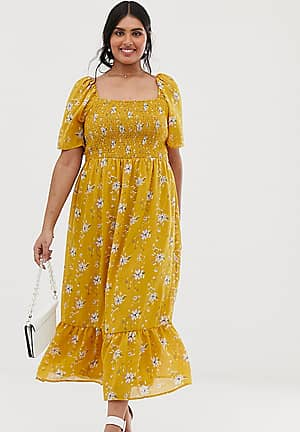 puff sleeve midi dress with shirred bodice and fluted hem in ditsy yellow floral