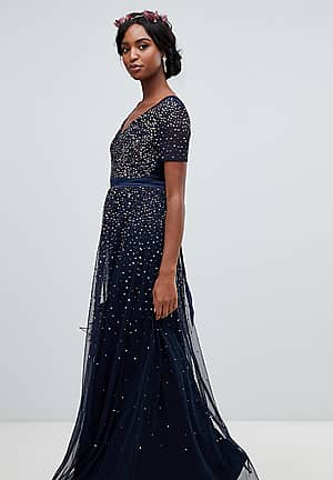 v neck maxi tulle dress with contrast tonal delicate sequins in navy