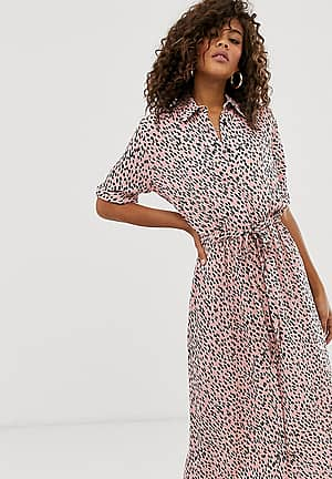 shirt dress in pink polka dot