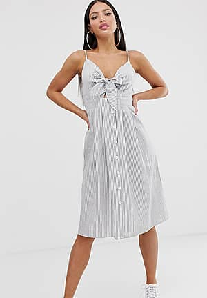 tie front midi dress in stripe