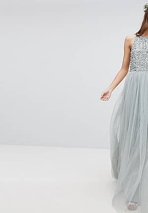 Sleeveless Sequin Bodice Tulle Detail Maxi Bridesmaid Dress With Cutout Back
