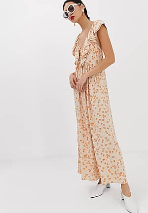 maxi dress with ruffle collar and volume skirt