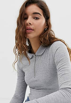 polo neck top with zip in grey
