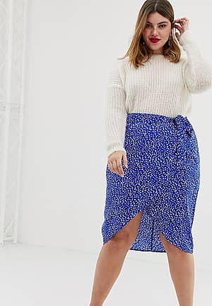 wrap over skirt with belt in splodge print